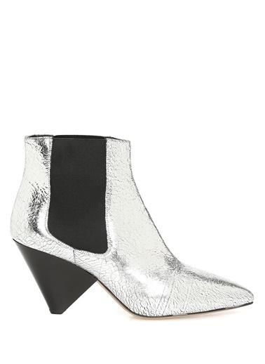 Etoile İsabel Marant Sivri Burun %100 Deri Ayakkabı Gümüş